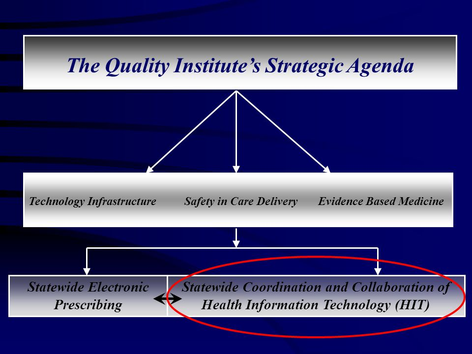 The Quality Institute's Strategic Agenda Statewide Electronic Prescribing Technology Infrastructure Safety in Care Delivery Evidence Based Medicine Statewide Coordination and Collaboration of Health Information Technology (HIT)