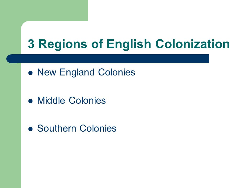 3 Regions of English Colonization New England Colonies Middle Colonies Southern Colonies