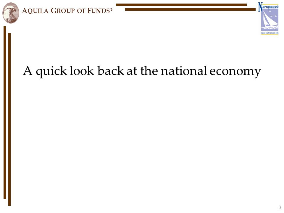 A QUILA G ROUP OF F UNDS ® We know that nationally times have been unprecedented… Sources: NBER, BEA, and BLS.