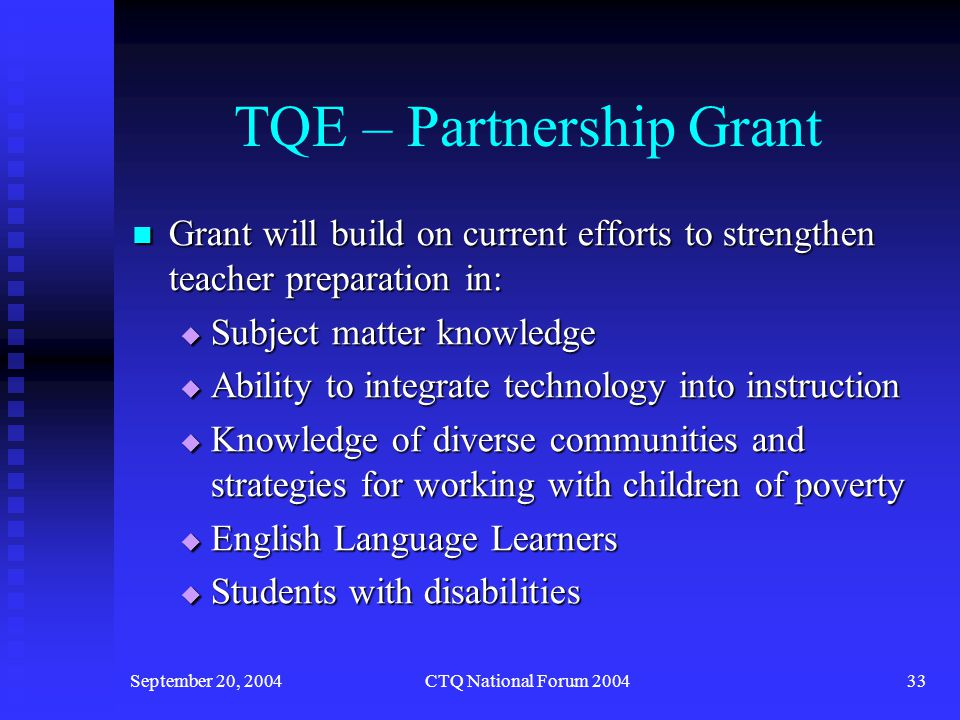 September 20, 2004CTQ National Forum 200434 TQE – Partnership Grant Grant products include: Grant products include:  Redesigned courses  Additional roles for arts and science faculty in evaluating prospective teachers  Methods for integrating technology into instruction  Modifications to clinical experiences  Differentiated instruction for diverse learners