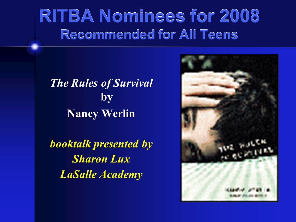 RITBA Nominees for 2008 Recommended for All Teens Notes from the Midnight Driver by Jordan Sonnenblick booktalk presented by Robin Lensing Pawtucket PL
