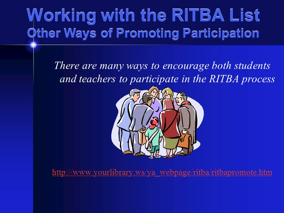 Working with the RITBA List The Website and Discussion Modules Visit the Award's Website for access to Discussion Modules for each book.