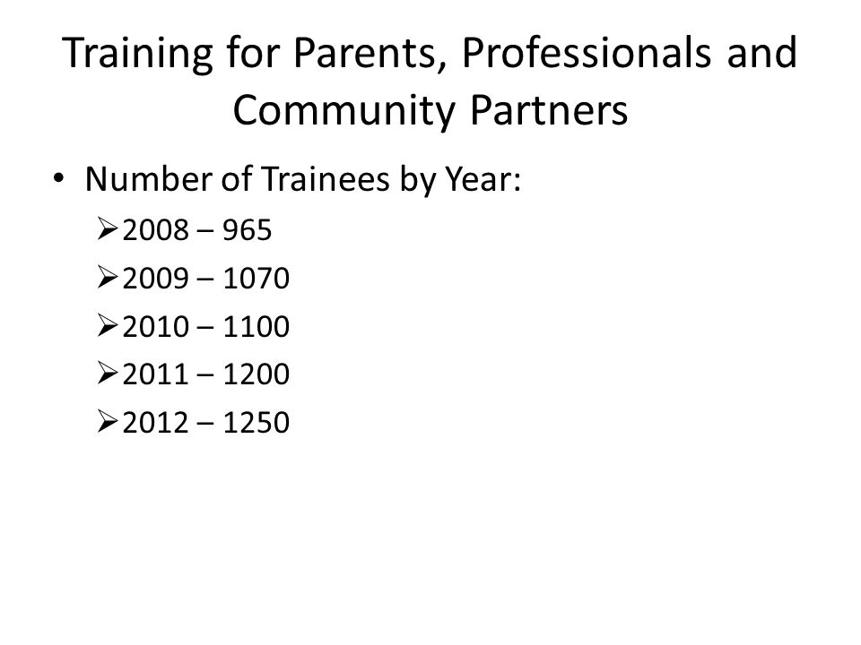 Training for Parents, Professionals and Community Partners Number of Trainees by Year:  2008 – 965  2009 – 1070  2010 – 1100  2011 – 1200  2012 – 1250
