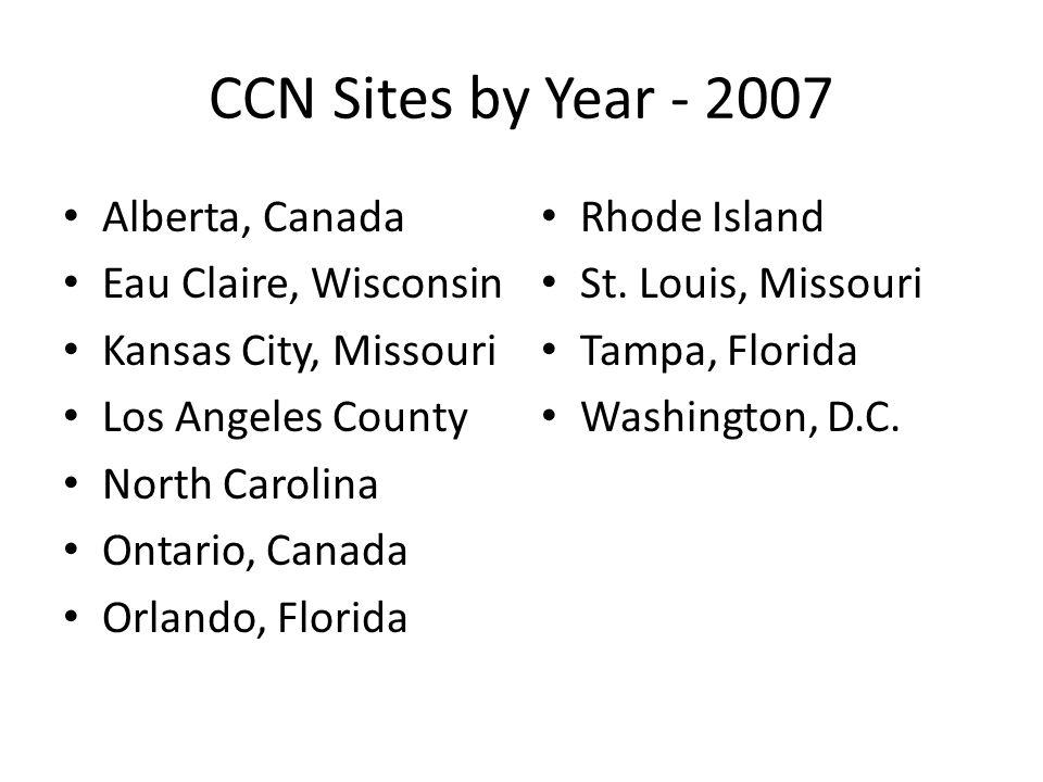 CCN Sites by Year - 2007 Alberta, Canada Eau Claire, Wisconsin Kansas City, Missouri Los Angeles County North Carolina Ontario, Canada Orlando, Florid