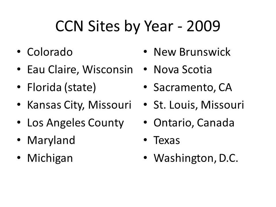 CCN Sites by Year - 2009 Colorado Eau Claire, Wisconsin Florida (state) Kansas City, Missouri Los Angeles County Maryland Michigan New Brunswick Nova Scotia Sacramento, CA St.