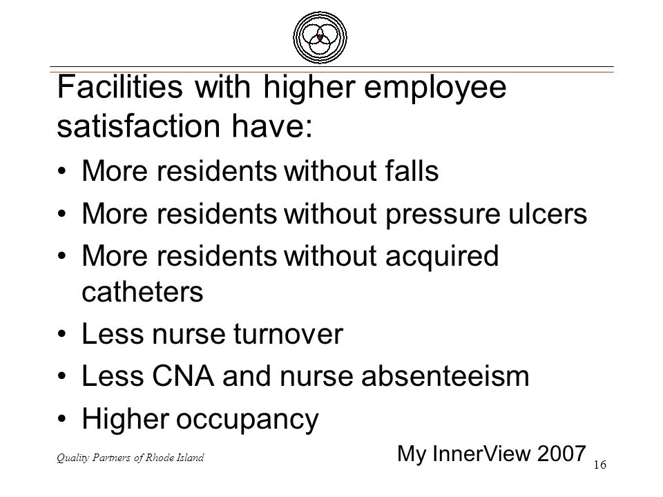 Quality Partners of Rhode Island 16 Facilities with higher employee satisfaction have: More residents without falls More residents without pressure ulcers More residents without acquired catheters Less nurse turnover Less CNA and nurse absenteeism Higher occupancy My InnerView 2007