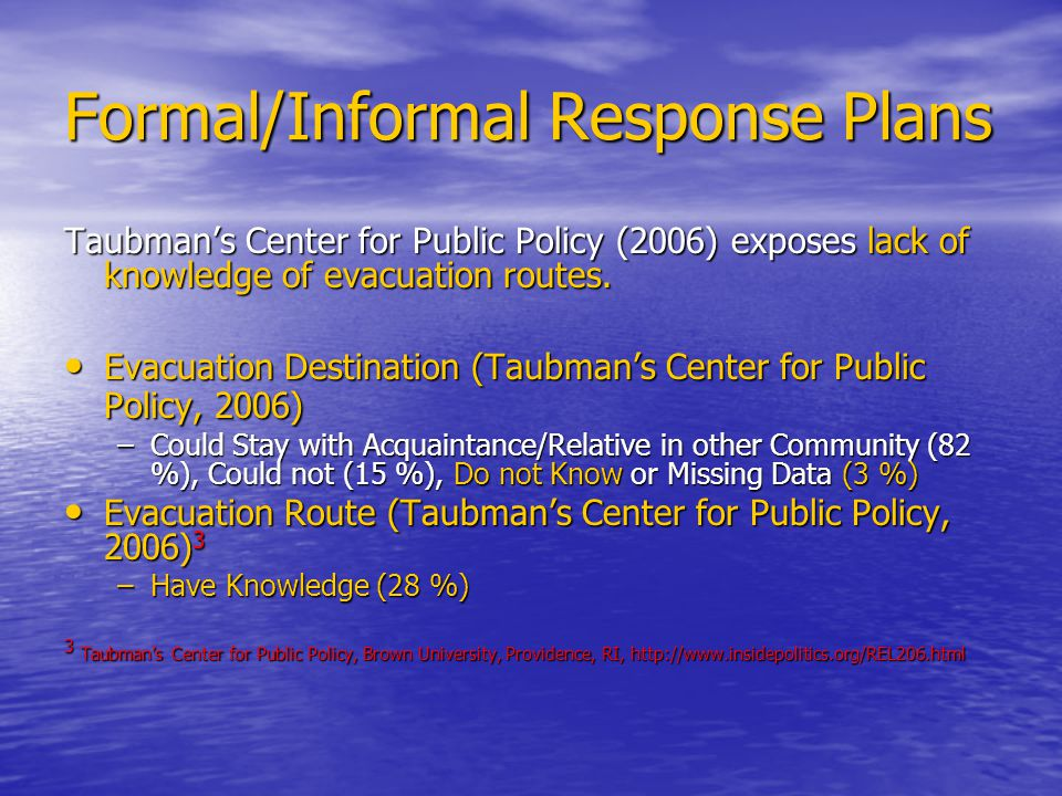 Formal/Informal Response Plans Taubman's Center for Public Policy (2006) exposes lack of knowledge of evacuation routes.