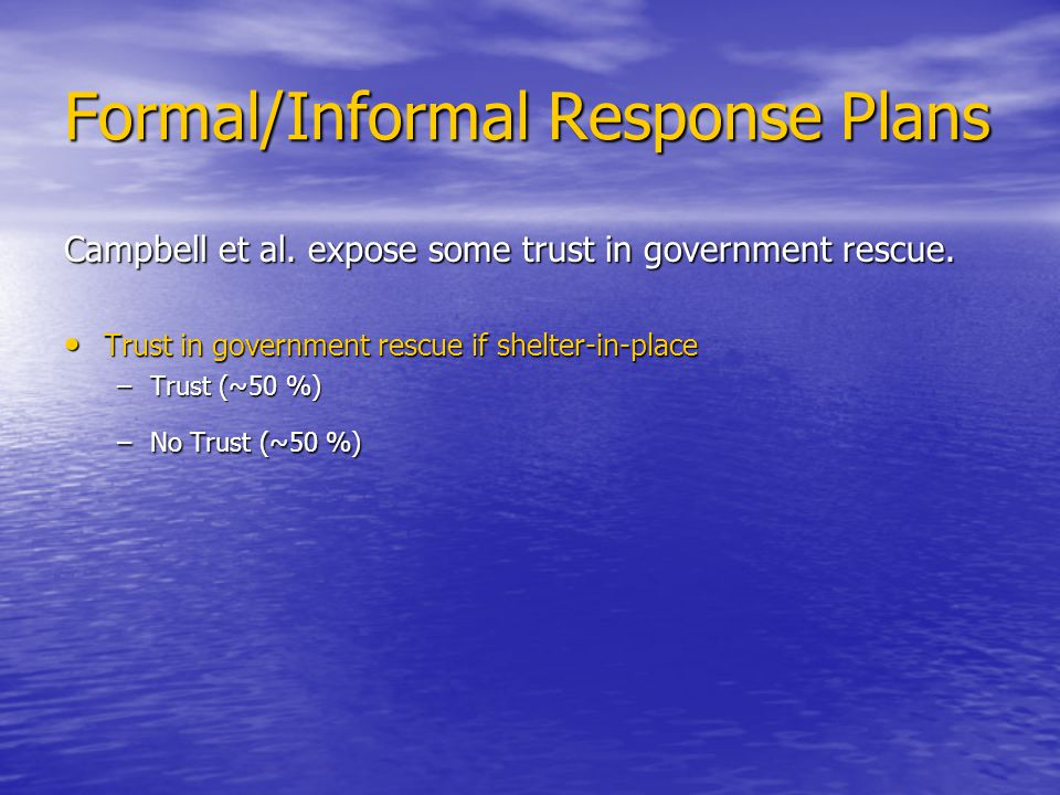 Formal/Informal Response Plans Campbell et al. expose some trust in government rescue.