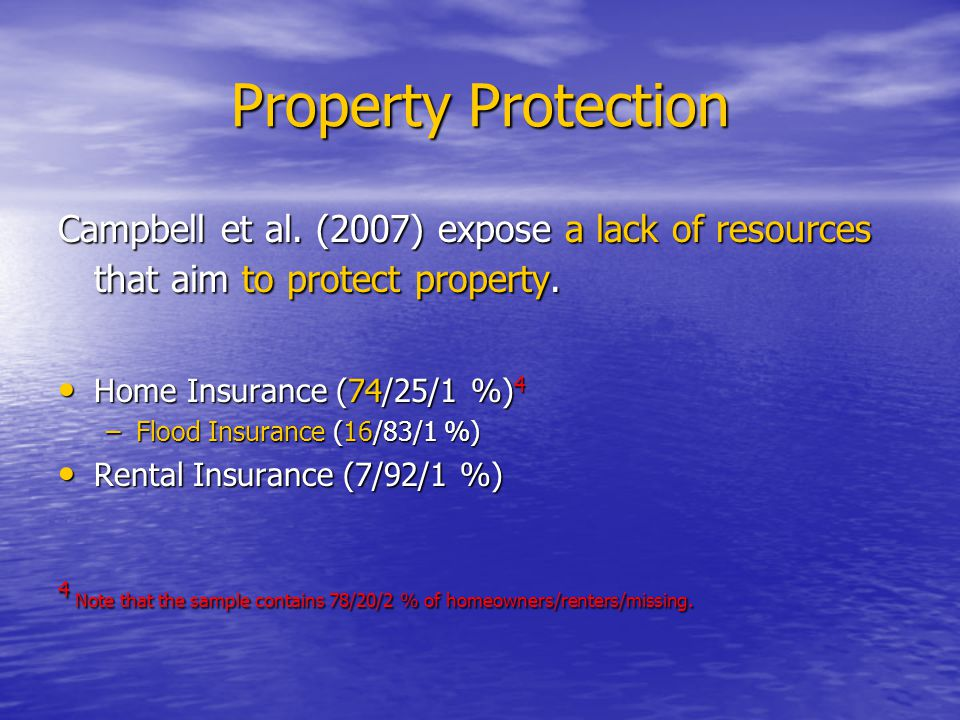 Property Protection Campbell et al. (2007) expose a lack of resources that aim to protect property.