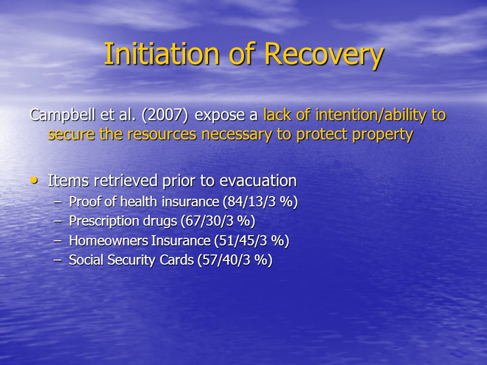 Initiation of Recovery Campbell et al.