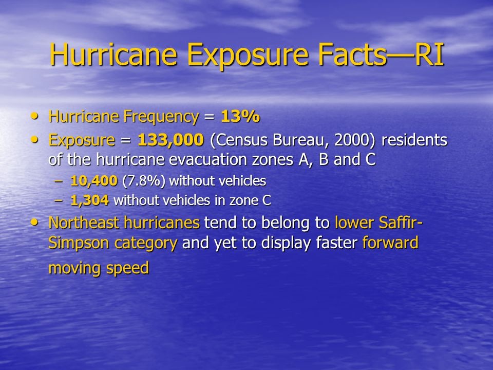 Hurricane Exposure Facts—RI Hurricane Frequency = 13% Hurricane Frequency = 13% Exposure = 133,000 (Census Bureau, 2000) residents of the hurricane evacuation zones A, B and C Exposure = 133,000 (Census Bureau, 2000) residents of the hurricane evacuation zones A, B and C –10,400 (7.8%) without vehicles –1,304 without vehicles in zone C Northeast hurricanes tend to belong to lower Saffir- Simpson category and yet to display faster forward moving speed Northeast hurricanes tend to belong to lower Saffir- Simpson category and yet to display faster forward moving speed