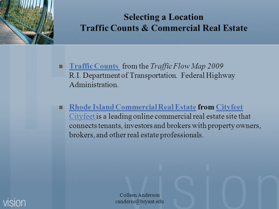 Selecting a Location Traffic Counts & Commercial Real Estate Traffic Counts from the Traffic Flow Map 2009 R.I.
