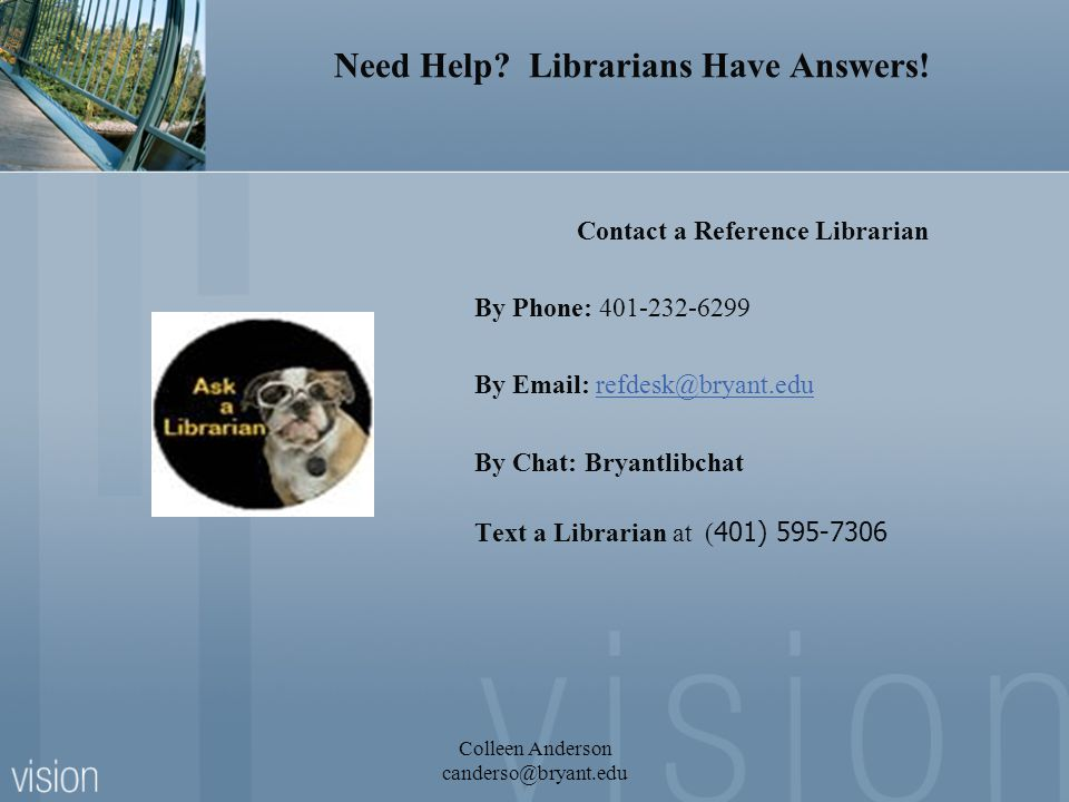 Need Help. Librarians Have Answers.