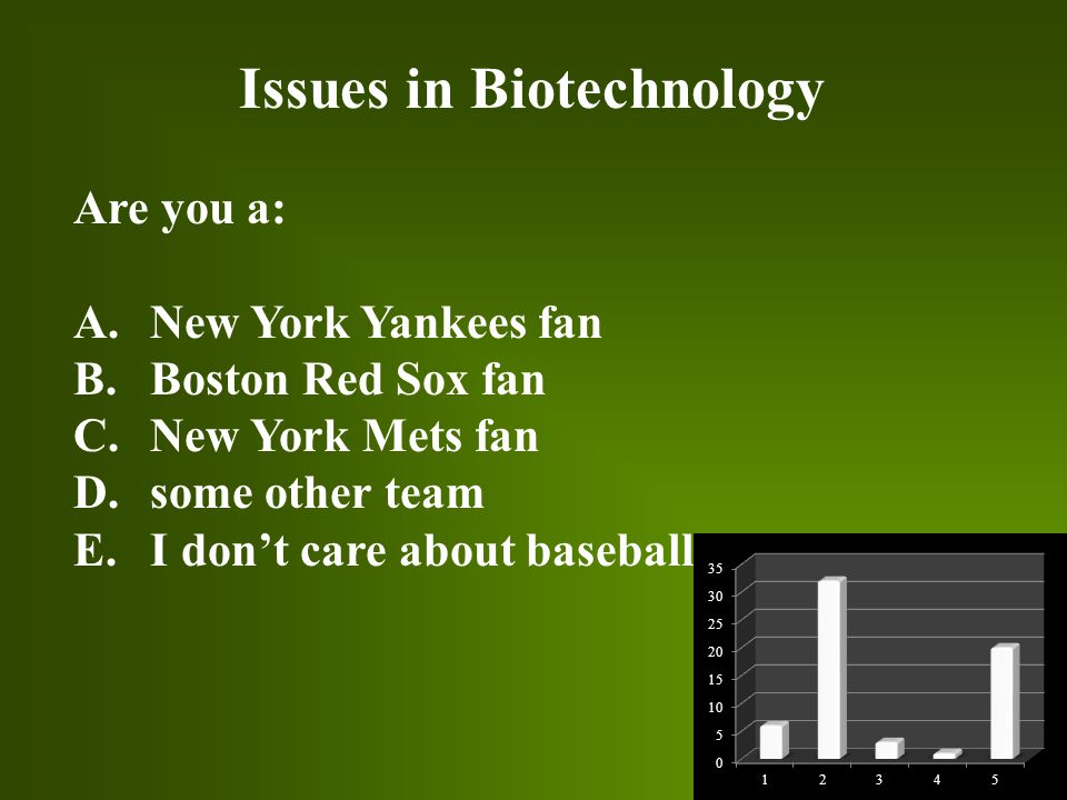 Issues in Biotechnology Are you a: A. New York Yankees fan B.