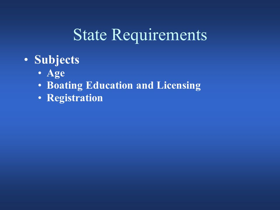 State Requirements Subjects Age Boating Education and Licensing Registration