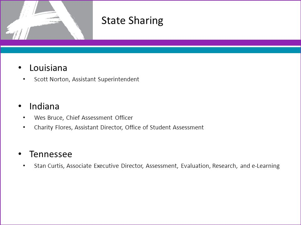 State Sharing Louisiana Scott Norton, Assistant Superintendent Indiana Wes Bruce, Chief Assessment Officer Charity Flores, Assistant Director, Office of Student Assessment Tennessee Stan Curtis, Associate Executive Director, Assessment, Evaluation, Research, and e-Learning