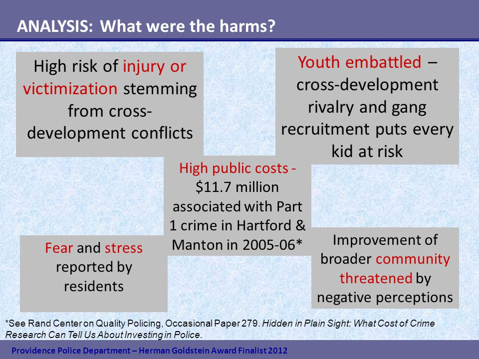 Providence Police Department – Herman Goldstein Award Finalist 2012 ANALYSIS: What were the harms.