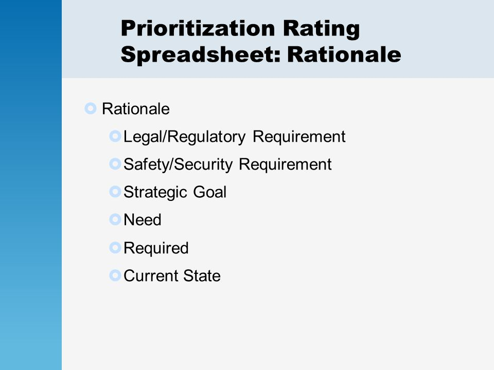 Prioritization Rating Spreadsheet: Rationale  Rationale  Legal/Regulatory Requirement  Safety/Security Requirement  Strategic Goal  Need  Required  Current State
