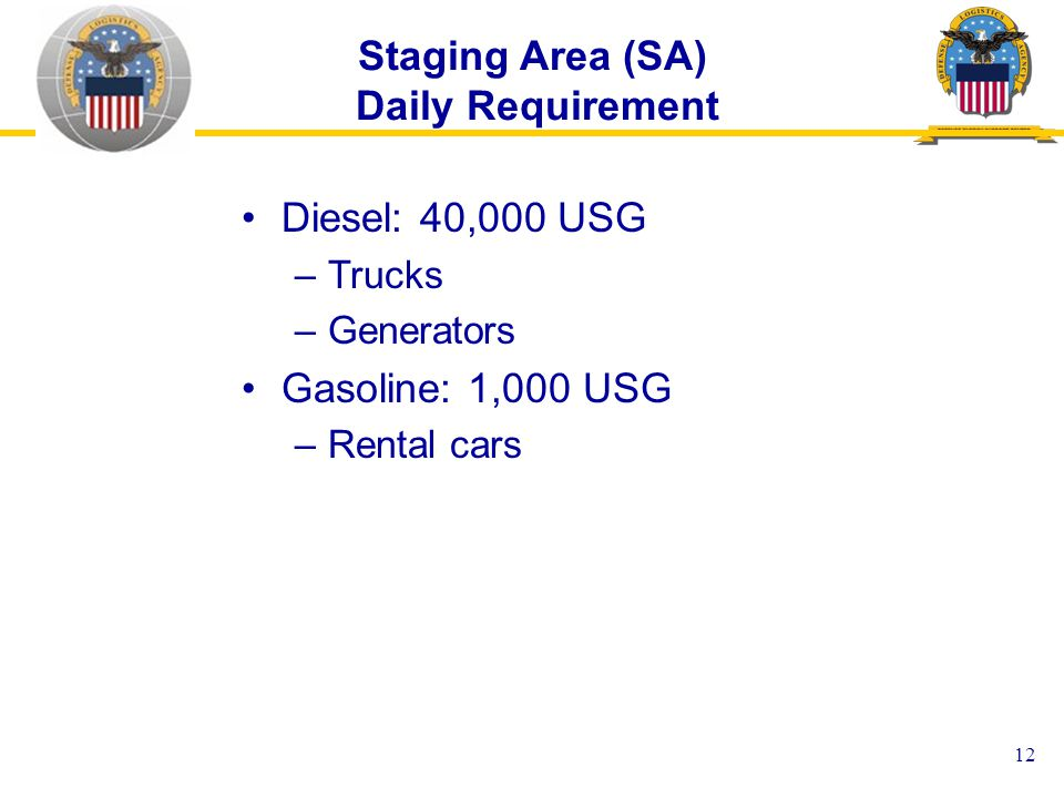 12 Staging Area (SA) Daily Requirement Diesel: 40,000 USG –Trucks –Generators Gasoline: 1,000 USG –Rental cars