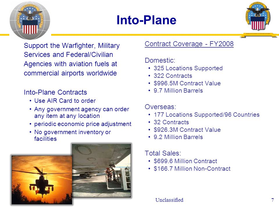 Unclassified7 Into-Plane Support the Warfighter, Military Services and Federal/Civilian Agencies with aviation fuels at commercial airports worldwide Into-Plane Contracts Use AIR Card to order Any government agency can order any item at any location periodic economic price adjustment No government inventory or facilities Contract Coverage - FY2008 Domestic: 325 Locations Supported 322 Contracts $996.5M Contract Value 9.7 Million Barrels Overseas: 177 Locations Supported/96 Countries 32 Contracts $926.3M Contract Value 9.2 Million Barrels Total Sales: $699.6 Million Contract $166.7 Million Non-Contract