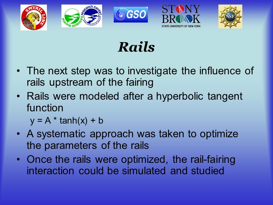 Rails The next step was to investigate the influence of rails upstream of the fairing Rails were modeled after a hyperbolic tangent function y = A * tanh(x) + b A systematic approach was taken to optimize the parameters of the rails Once the rails were optimized, the rail-fairing interaction could be simulated and studied