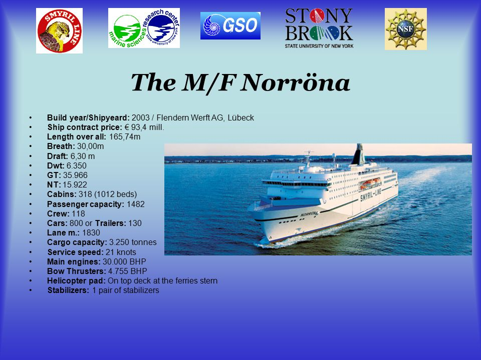 The M/F Norröna Build year/Shipyeard: 2003 / Flendern Werft AG, Lübeck Ship contract price: € 93,4 mill.