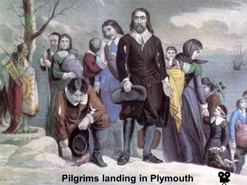 Pilgrims landing in Plymouth