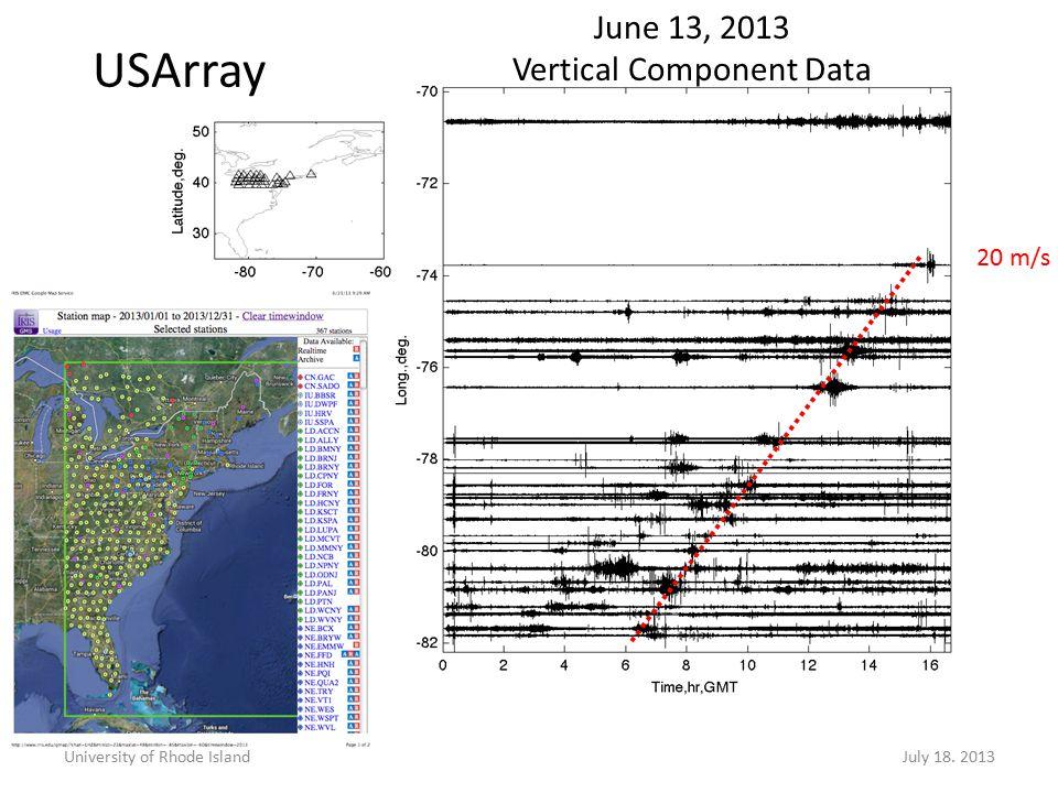 20 m/s USArray University of Rhode IslandJuly 18. 2013 June 13, 2013 Vertical Component Data