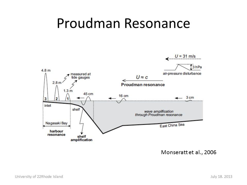 University of 22Rhode IslandJuly 18. 2013 Monseratt et al., 2006 Proudman Resonance