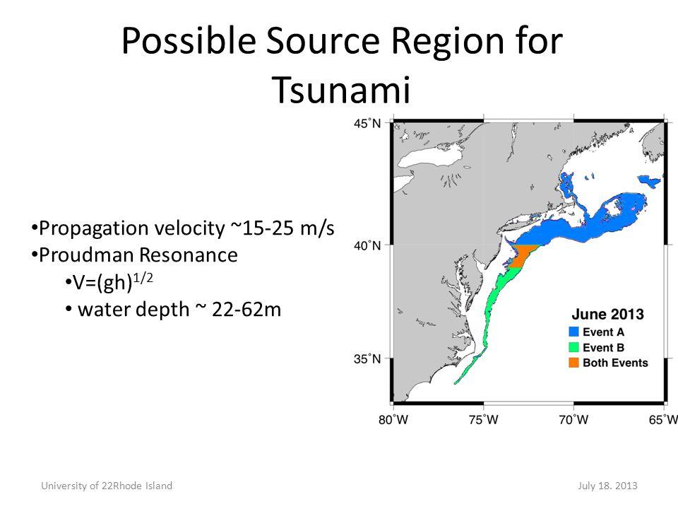 Possible Source Region for Tsunami Propagation velocity ~15-25 m/s Proudman Resonance V=(gh) 1/2 water depth ~ 22-62m University of 22Rhode IslandJuly 18.