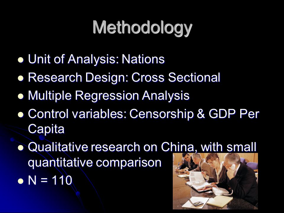 Methodology Unit of Analysis: Nations Unit of Analysis: Nations Research Design: Cross Sectional Research Design: Cross Sectional Multiple Regression