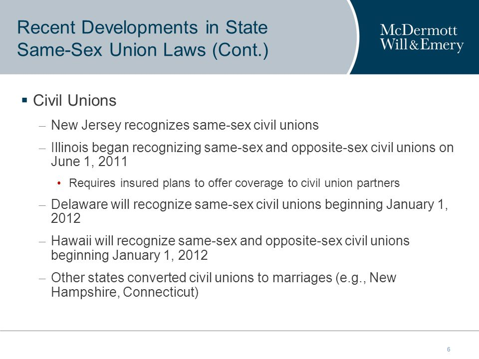 6  Civil Unions – New Jersey recognizes same-sex civil unions – Illinois began recognizing same-sex and opposite-sex civil unions on June 1, 2011 Requires insured plans to offer coverage to civil union partners – Delaware will recognize same-sex civil unions beginning January 1, 2012 – Hawaii will recognize same-sex and opposite-sex civil unions beginning January 1, 2012 – Other states converted civil unions to marriages (e.g., New Hampshire, Connecticut) Recent Developments in State Same-Sex Union Laws (Cont.)