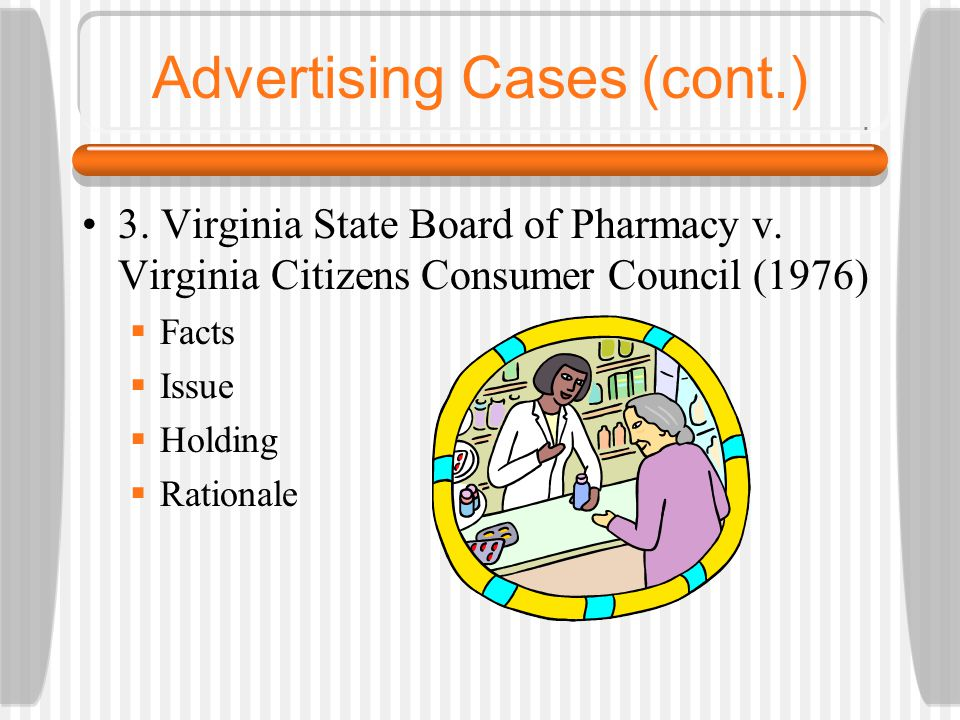 Advertising Cases (cont.) 3. Virginia State Board of Pharmacy v. Virginia Citizens Consumer Council (1976)  Facts  Issue  Holding  Rationale