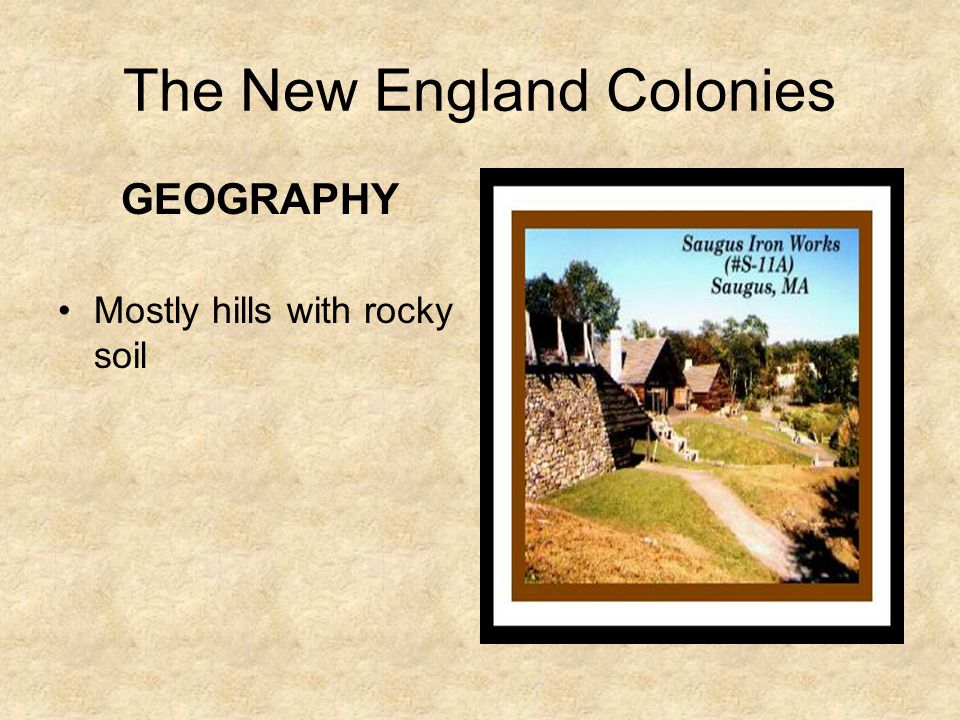The New England Colonies CLIMATE Colder than the other two regions –Why? Because they were the farthest north!