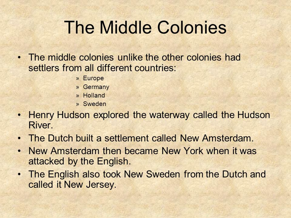Life in the Middle Colonies People lived on large farms far apart from each other. Families home schooled their children. The farms produced grains su