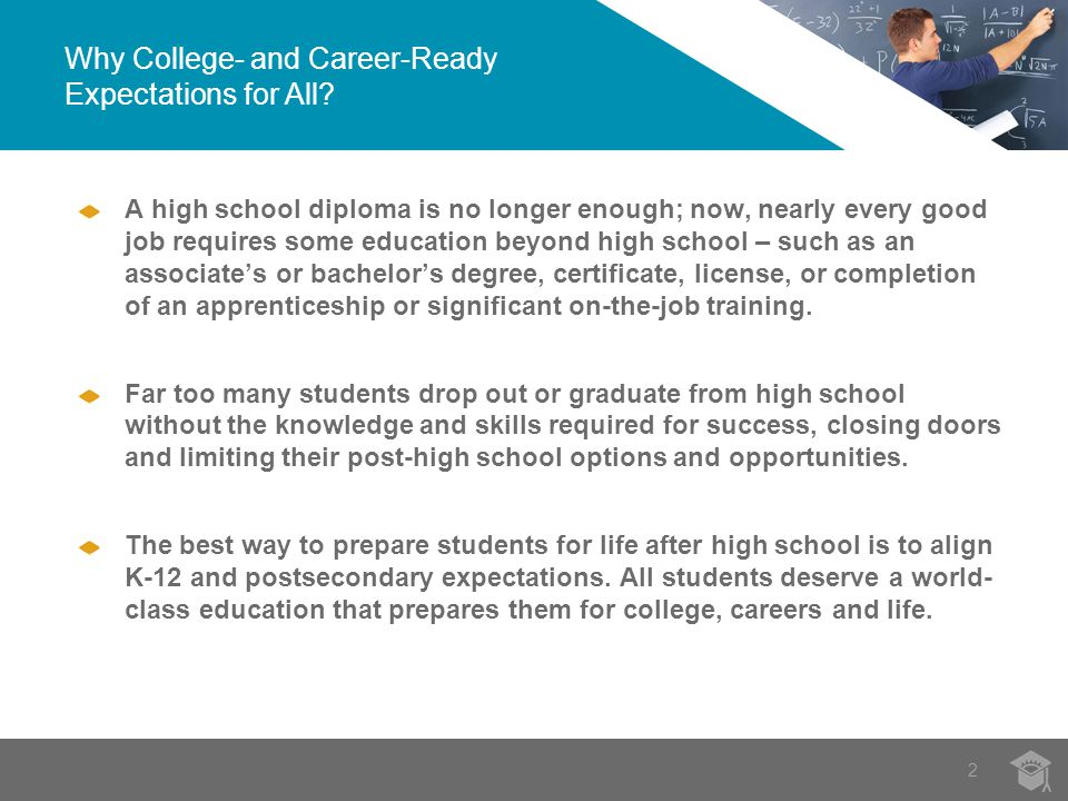 The College- and Career-Ready Agenda 33 Align high school standards with the demands of college and careers.