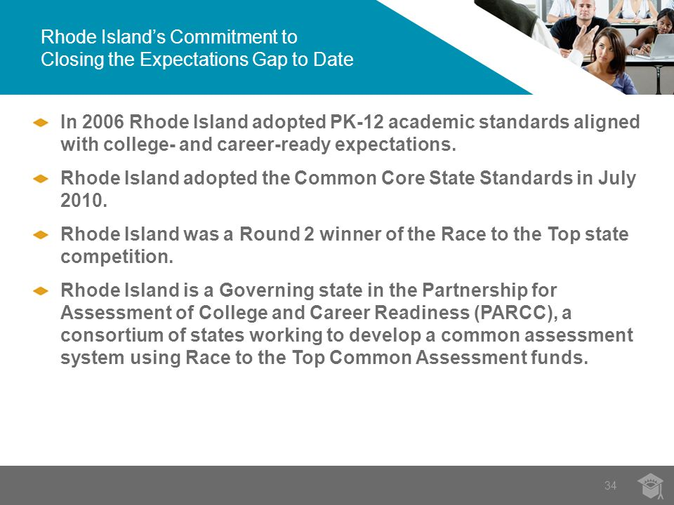 Rhode Island's Commitment to Closing the Expectations Gap to Date 34 In 2006 Rhode Island adopted PK-12 academic standards aligned with college- and career-ready expectations.