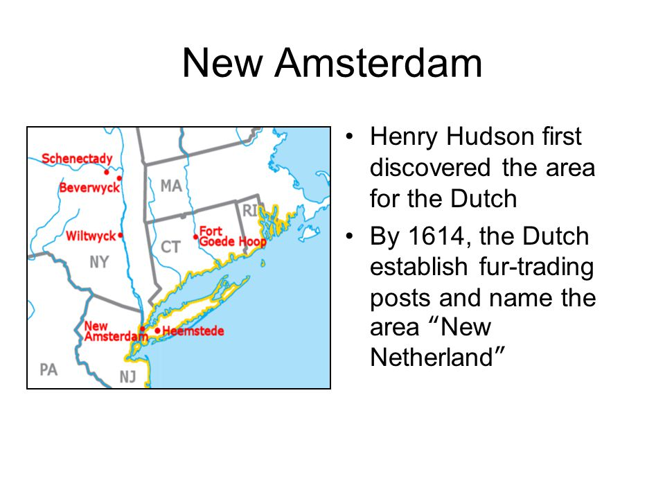 New Amsterdam Henry Hudson first discovered the area for the Dutch By 1614, the Dutch establish fur-trading posts and name the area New Netherland