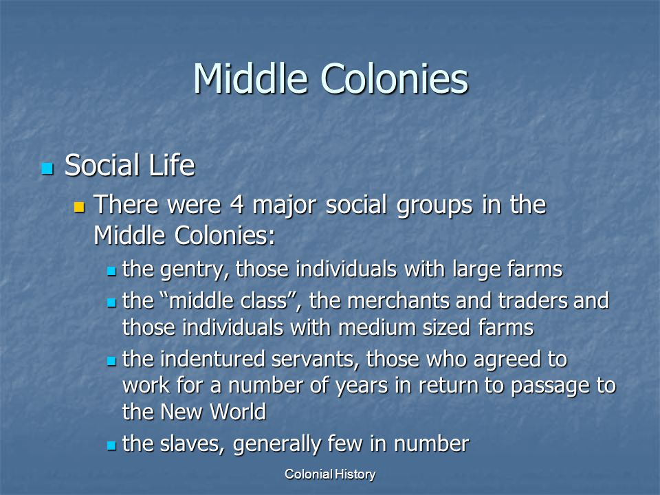 Colonial History Middle Colonies Social Life Social Life There were 4 major social groups in the Middle Colonies: There were 4 major social groups in
