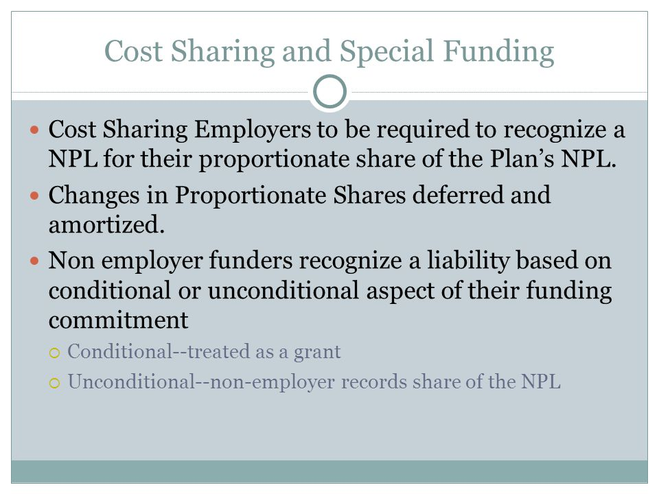 Cost Sharing and Special Funding Cost Sharing Employers to be required to recognize a NPL for their proportionate share of the Plan's NPL.