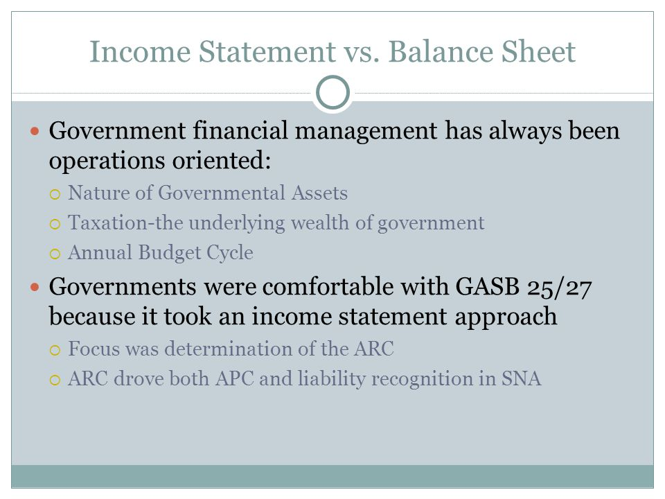 Income Statement vs.