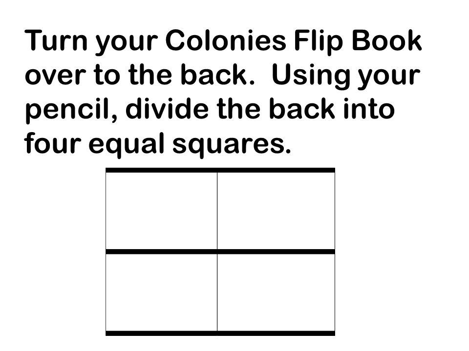 Title each square as follows: New England Colonies' Economy Middle Colonies' Economy Southern Colonies' Economy Royal Colonies (Government)