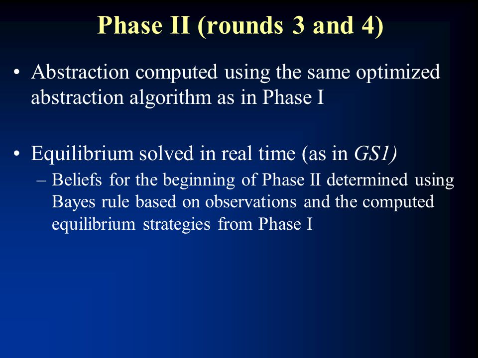 Phase II (rounds 3 and 4) Abstraction computed using the same optimized abstraction algorithm as in Phase I Equilibrium solved in real time (as in GS1