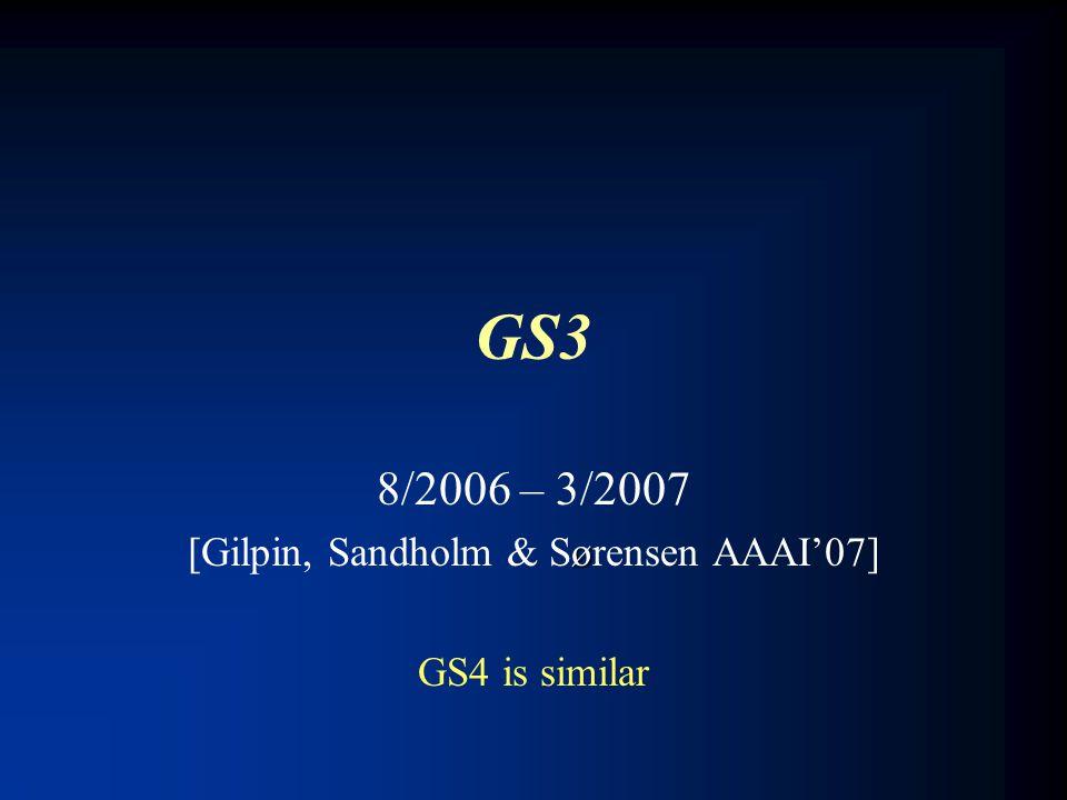 GS3 8/2006 – 3/2007 ø [Gilpin, Sandholm & Sørensen AAAI'07] GS4 is similar