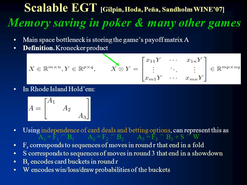 Scalable EGT [Gilpin, Hoda, Peña, Sandholm WINE'07] Memory saving in poker & many other games Main space bottleneck is storing the game's payoff matri