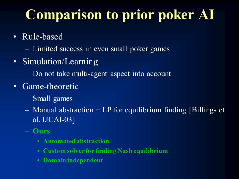 Comparison to prior poker AI Rule-based –Limited success in even small poker games Simulation/Learning –Do not take multi-agent aspect into account Ga