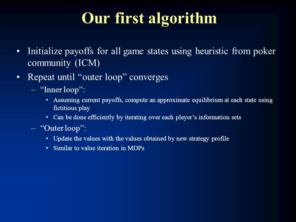 "Our first algorithm Initialize payoffs for all game states using heuristic from poker community (ICM) Repeat until ""outer loop"" converges –""Inner loop"