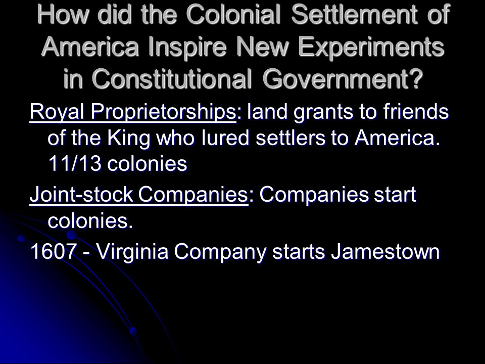 How did the Colonial Settlement of America Inspire New Experiments in Constitutional Government.