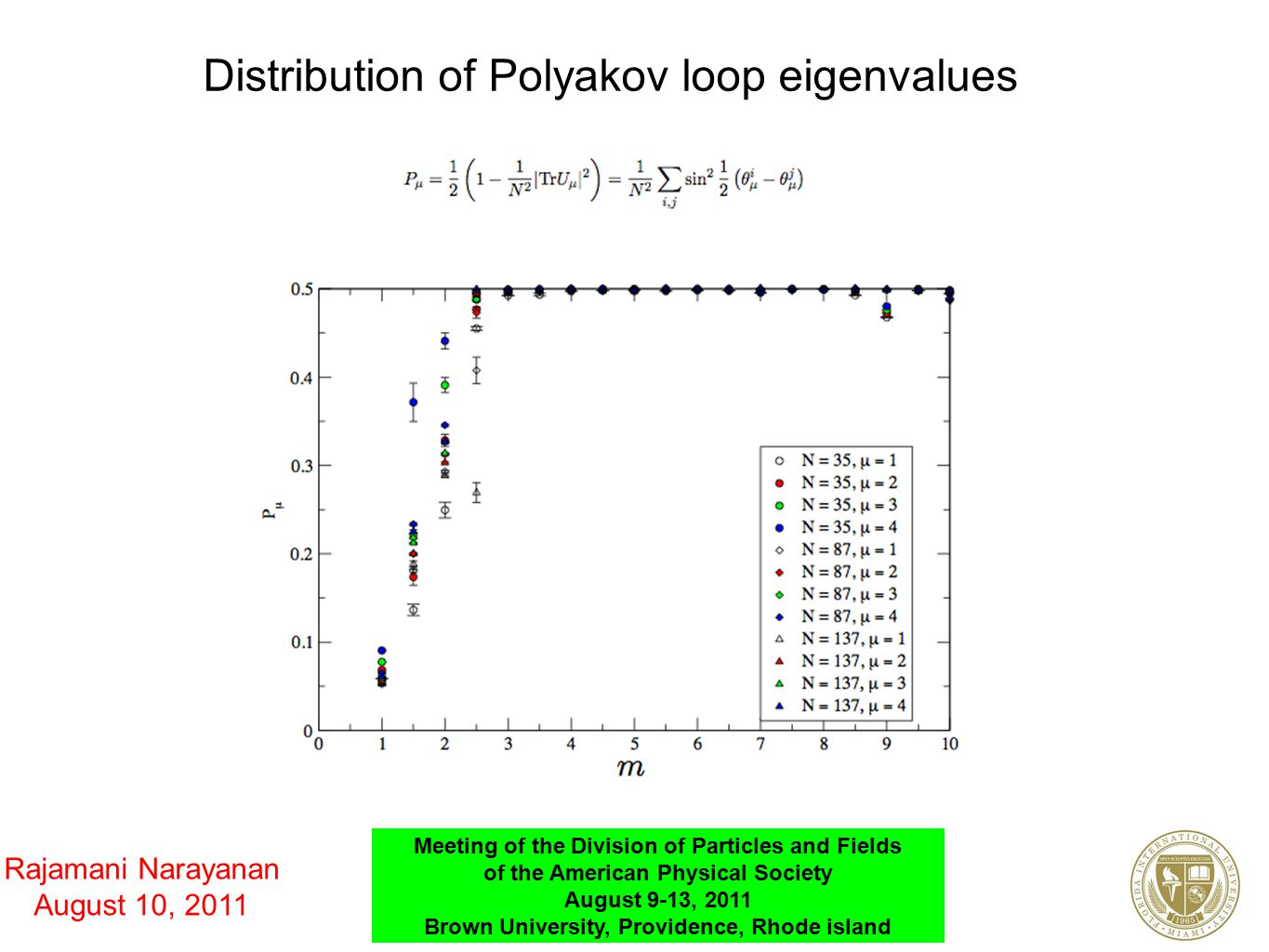Distribution of Polyakov loop eigenvalues Rajamani Narayanan August 10, 2011 Meeting of the Division of Particles and Fields of the American Physical Society August 9-13, 2011 Brown University, Providence, Rhode island