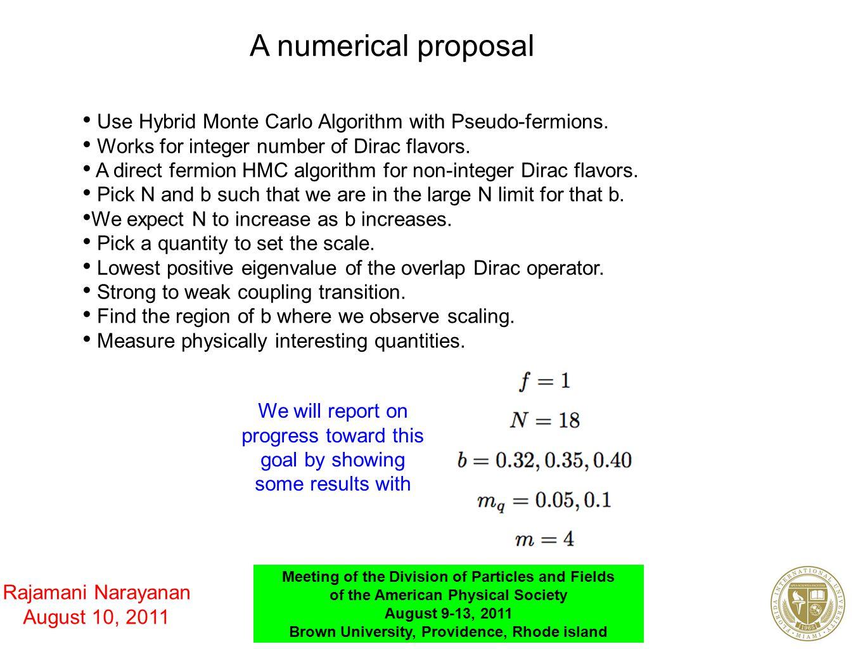 A numerical proposal Use Hybrid Monte Carlo Algorithm with Pseudo-fermions. Works for integer number of Dirac flavors. A direct fermion HMC algorithm